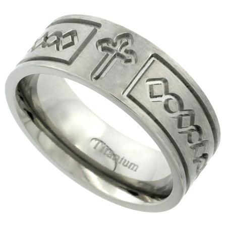 Titanium 8mm Wedding Band Cross Ring Flat Brushed Finish Comfort Fit, sizes 7 - 14