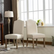 Roundhill Furniture Mod Urban Style Solid Wood Nailhead Fabric Padded Parson Chair Set of 2, Tan