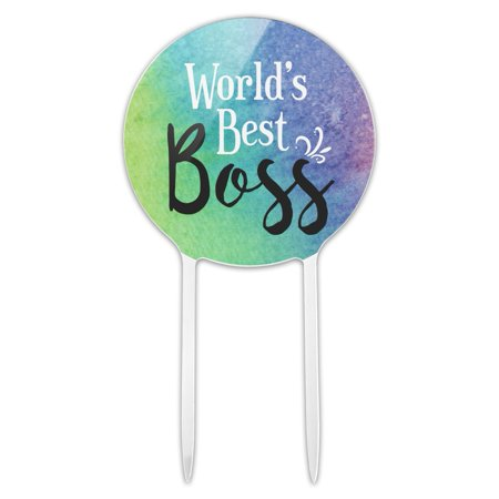 Acrylic World's Best Boss Cake Topper Party Decoration for Wedding Anniversary Birthday