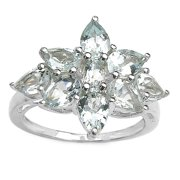 Malaika  Sterling Silver 3ct TGW Aquamarine Ring