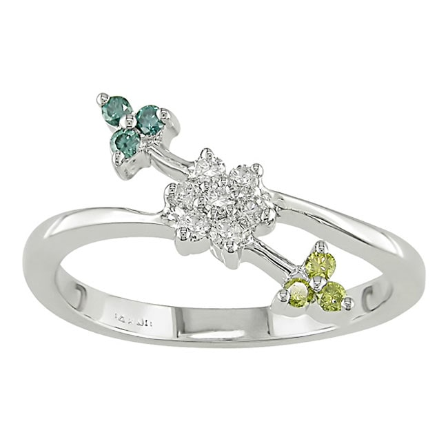 14k White Gold 1/4ct TDW Fancy Diamond Ring