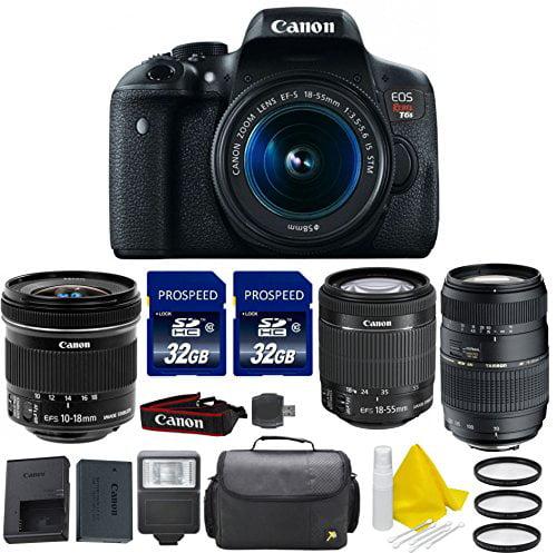 Canon EOS Digital Rebel T6s 24.2 MP SLR Digital Camera with Canon EF-S 10-18mm f 4.5-5.6 IS STM + Canon EF-S... by 33rd Street Camera