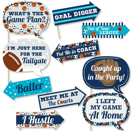 Funny Go, Fight, Win - Sports - Baby Shower or Birthday Party Photo Booth Props Kit - 10 Piece](Sports Baby Shower)