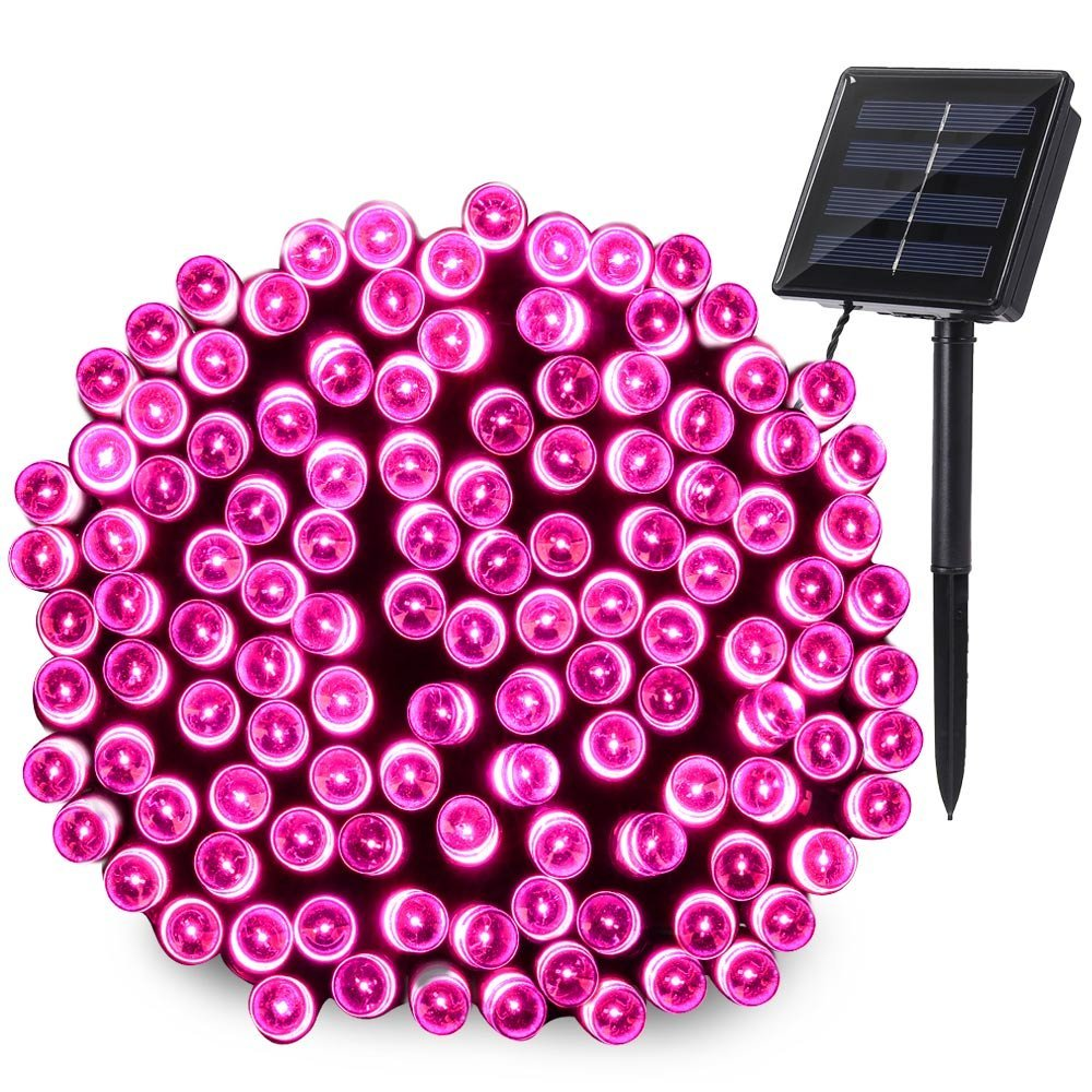 Qedertek Halloween Lights Christmas Solar String Lights 72ft 200 LED Fairy Decorative Outdoor Solar Lights for Christmas Garden Patio Party Wedding and ect. (Pink)