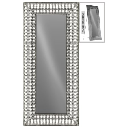 Glam Rectangular Easel Floor Mirror Diamond Lattice Design -Silver ...