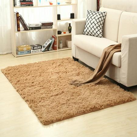 160x250cm Solid Plush Shag Area Rug or Runner Soft Carpet Anti-skid  Floor Rug - image 2 de 2