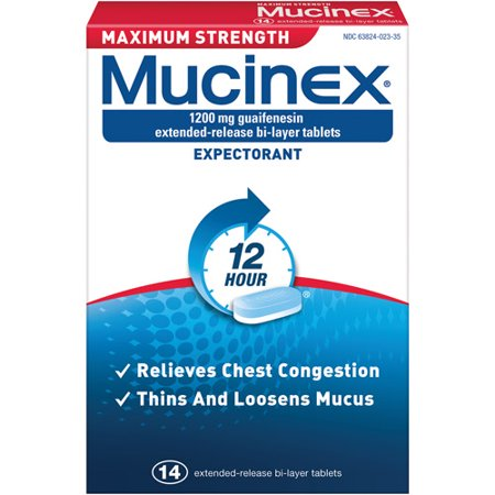Mucinex Maximum Strength 12 Hour Chest Congestion Expectorant Relief Tablets, 1200 mg, 14 Count, Thins & Loosens