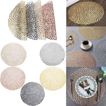 Round Placemats 1PC Hot Stamping Placemat PVC Hollow Floral Cutwork Table Mat Insulation Pad Non-Slip Dinner Table Decor