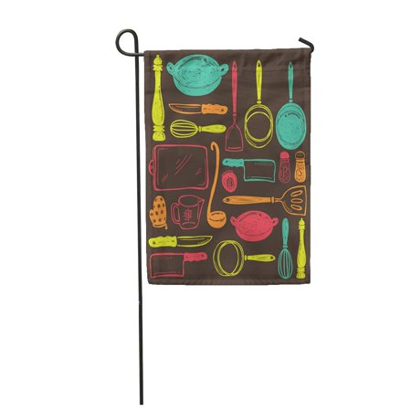 LADDKE Chef Cooking Utensils Tool Draw Doodle Sketch Kitchenware Equipment Vintage Garden Flag Decorative Flag House Banner 28x40 inch