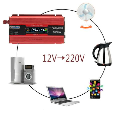 1000W Car LED Display Solar Power Inverter 12V To 220V USB Sine Wave  - image 6 of 6