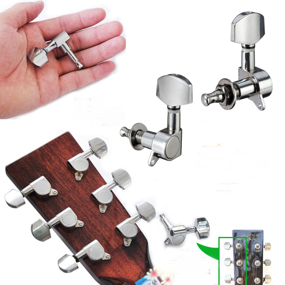 3R+3L Set Deluxe Guitar Tuning Pegs Keys Machine Heads Tuners For Style by