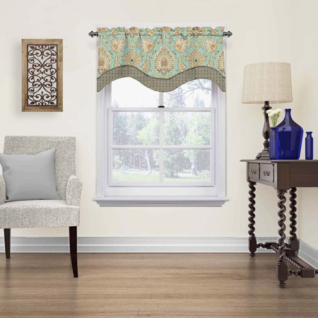 "18""x52"" Clifton Hall Scalloped Floral Window Valance Light Green - Waverly"