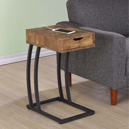 huge selection of 76559 a5702 Coaster Furniture Metal and Wood C-Shaped Accent Table