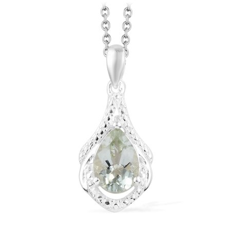 "925 Sterling Silver Green Amethyst Drop Chain Pendant Necklace for Women 20"" Cttw 1.4 Hypoallergenic"