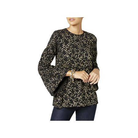 Michael Kors Womens Star-Print Bell-Sleeve Blouse