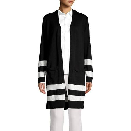 Marc New York Black Jacket - Contrast Striped Cotton Cardigan