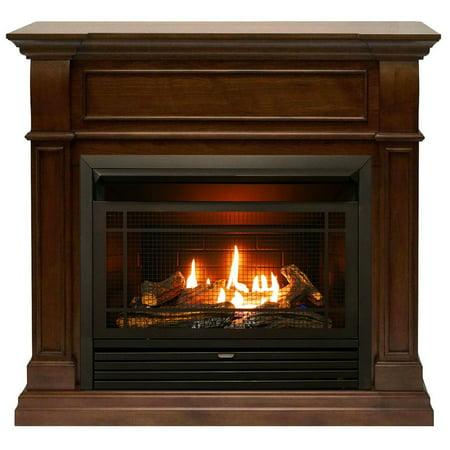 Duluth Forge Dual Fuel Ventless Gas Fireplace - 26,000 BTU, T-Stat Control, Walnut