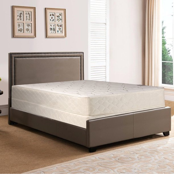 "Spring Solution, 10"" Fully Assembled Innerspring Back Support Long Lasting Mattress and 8"" Wood Box Spring/Foundation Set, Queen Size"