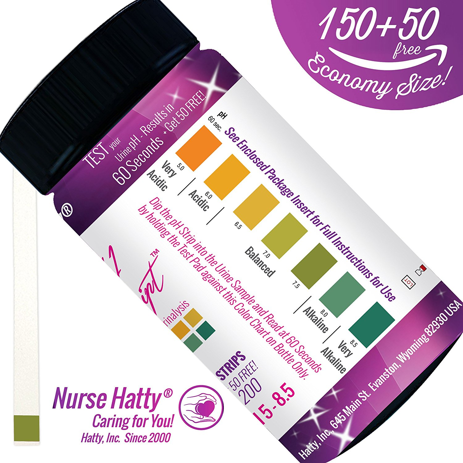 Nurse Hatty® - 200ct. pH Strips NOW Made in USA (ECONOMY SIZE - SINGLE PAD) - pH Test Strips for Alkaline & Acid Levels for Home & Lab Use + Brand New 37pg BONUS PDF Edu Pack - pH Scale of Human Urine