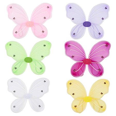 Lava Girl Costume For Kids (6 Pack Girls Butterfly Fairy Costume Wings for Kids Pretend Play Dress up in 6)