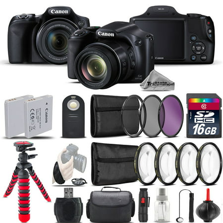 Canon PowerShot SX530 HS Digital Camera + 2 x Tripod + EXT BAT + Filter - 16GB