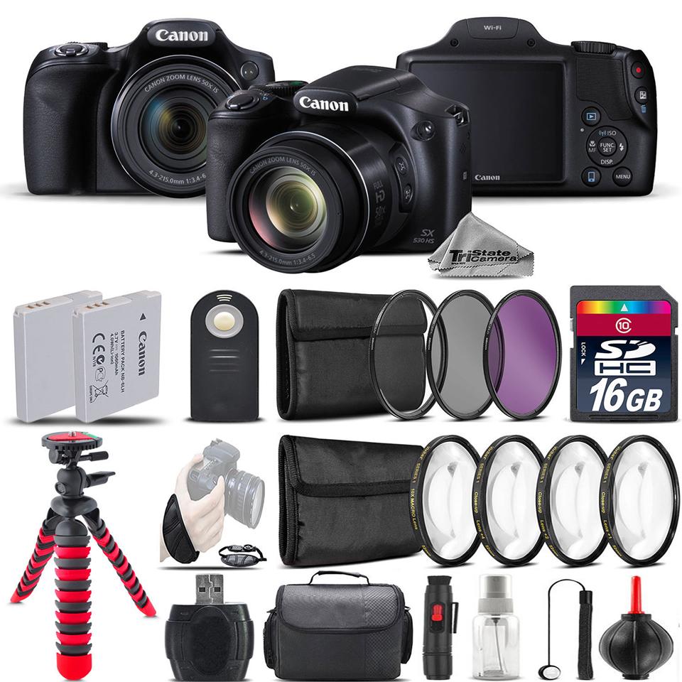 Canon PowerShot SX530 HS Digital Camera + 2 x Tripod  + EXT BAT + Filter - 16GB