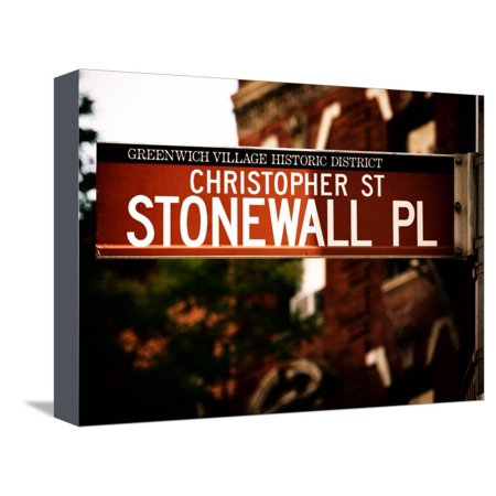 Urban Sign, Christopher Street and Stonewall Place, Greenwich Village District, Manhattan, New York Stretched Canvas Print Wall Art By Philippe Hugonnard