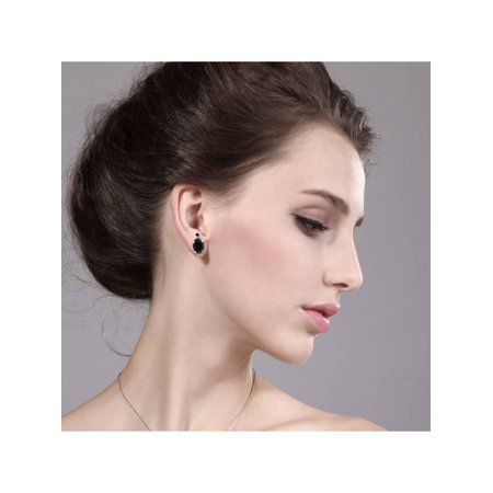 1.37 Ct Oval Black Onyx Black Diamond 14K White Gold Earrings - image 1 of 3