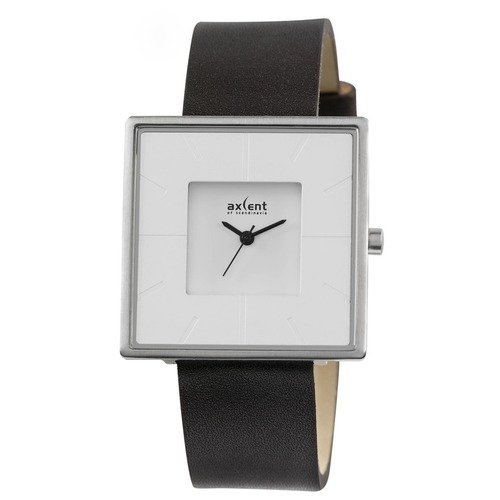 Axcent Hope Leather Square-Shaped Case Men's Watch with Dark Brown Band