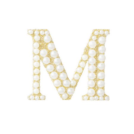 Add flair to your projects with this gold and pearl monogram bling sticker. The letter M makes the perfect customization for any handcrafted gift.
