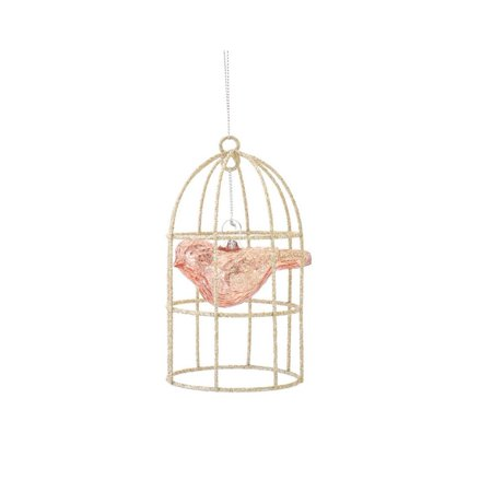 5 Rose Pink Glass Bird In Gold Glitter Cage Christmas Ornament