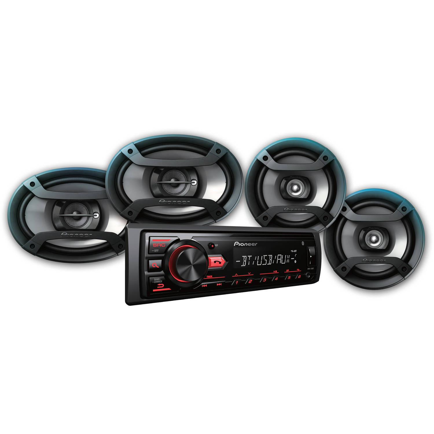 """Pioneer Bluetooth Car Stereo Receiver Bundle with Two 6.5"""" Speakers, Two 6"""" x 9"""" Speakers, and USB and Aux Inputs"""