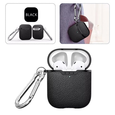 EEEKit Compatible with AirPods Case [Front LED Visible] Protective Leather Cover Full Protection Case Compatible for AirPods 1 & AirPods 2, Support Wireless Charging