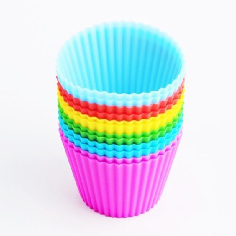 12 Silicone Baking Cups - Cupcake Baking Cups - Non-Stick...