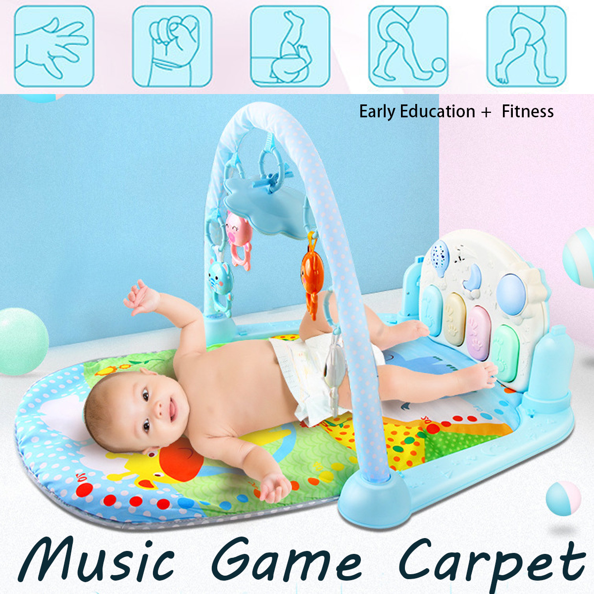 Baby Fitness Music Game Lay Play Mat Fun Piano Carpet Activity Gym Toys Pad