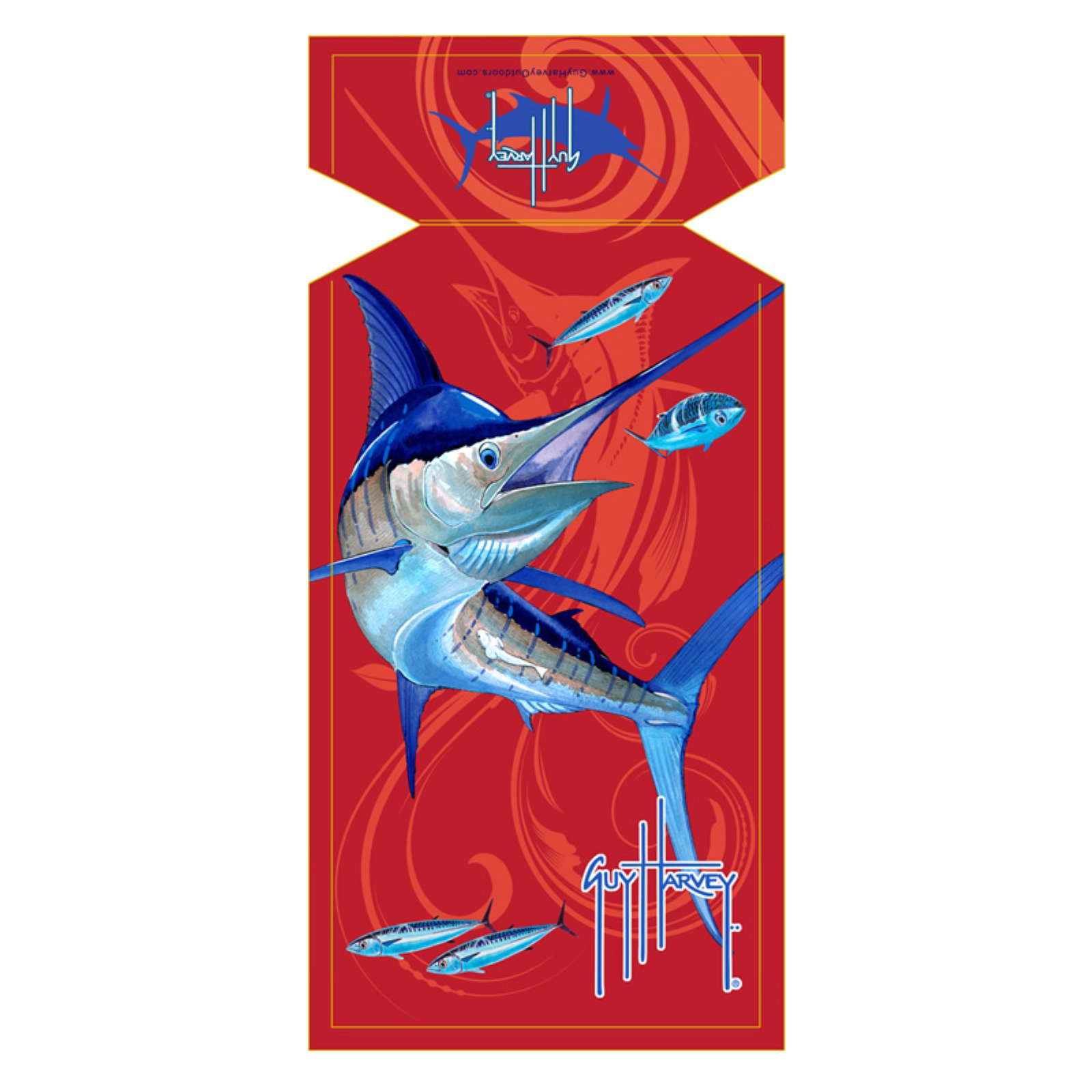 Guy Harvey Red Marlin Sea Lounge Chair Beach Towel with Hood