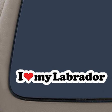 I Love My Labrador Decal | 2-Pack | 7.2-Inches Wide | Car Truck Van SUV Laptop Macbook Wall