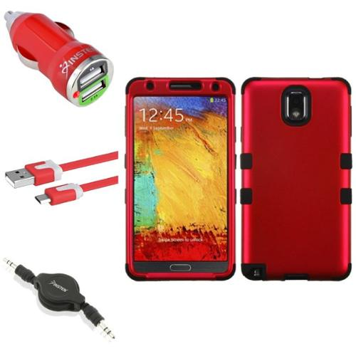 Insten Red/Black Tuff Hybrid Case+2x USB Cable Combo For Samsung Galaxy Note 3 N9000