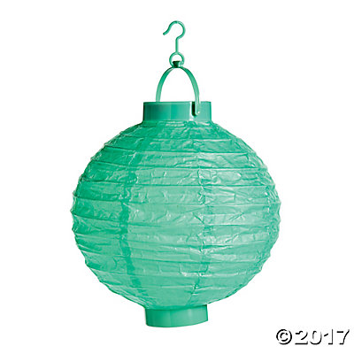 Mint Green Light-Up Hanging Paper Lanterns