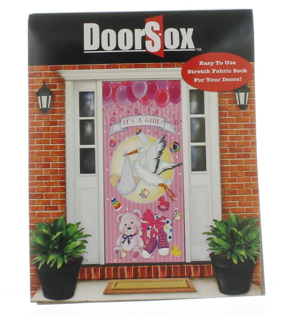 It's A Girl  DoorSox Pink Baby Shower Announcement Stretchable Door Sock Cover