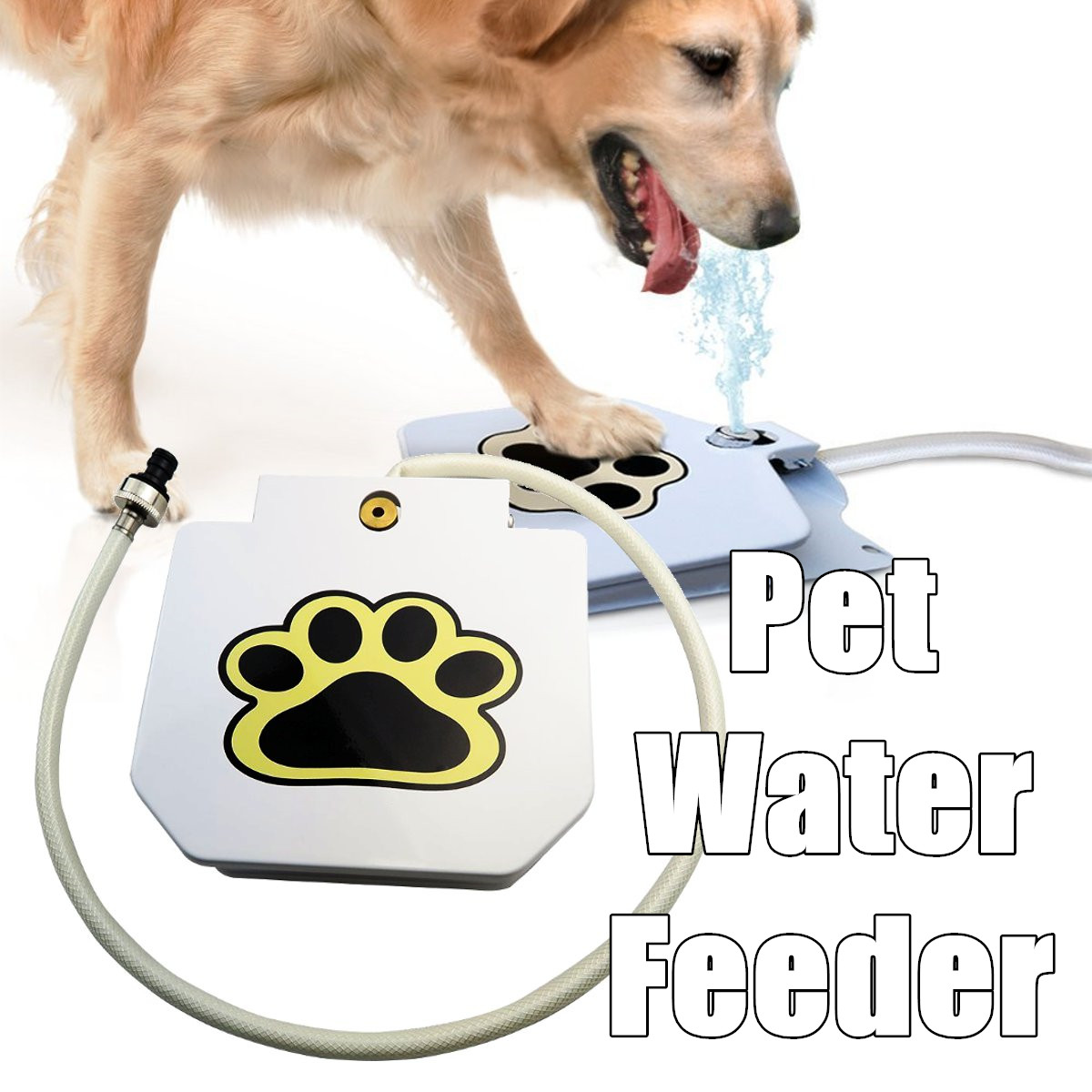 Outdoor Step Spray Dog Pet Paw Pedal Activated Water Fountain Drinking Feeder