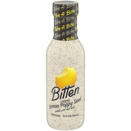 Bitten Creamy Lemon Poppy Seed Dressing with Real Fruit, 12 oz Bottle