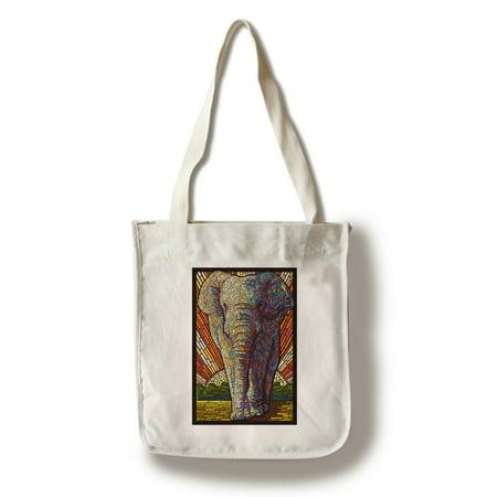 Asian Elephant - Paper Mosaic - Lantern Press Poster (100% Cotton Tote Bag - - Asian Lanterns