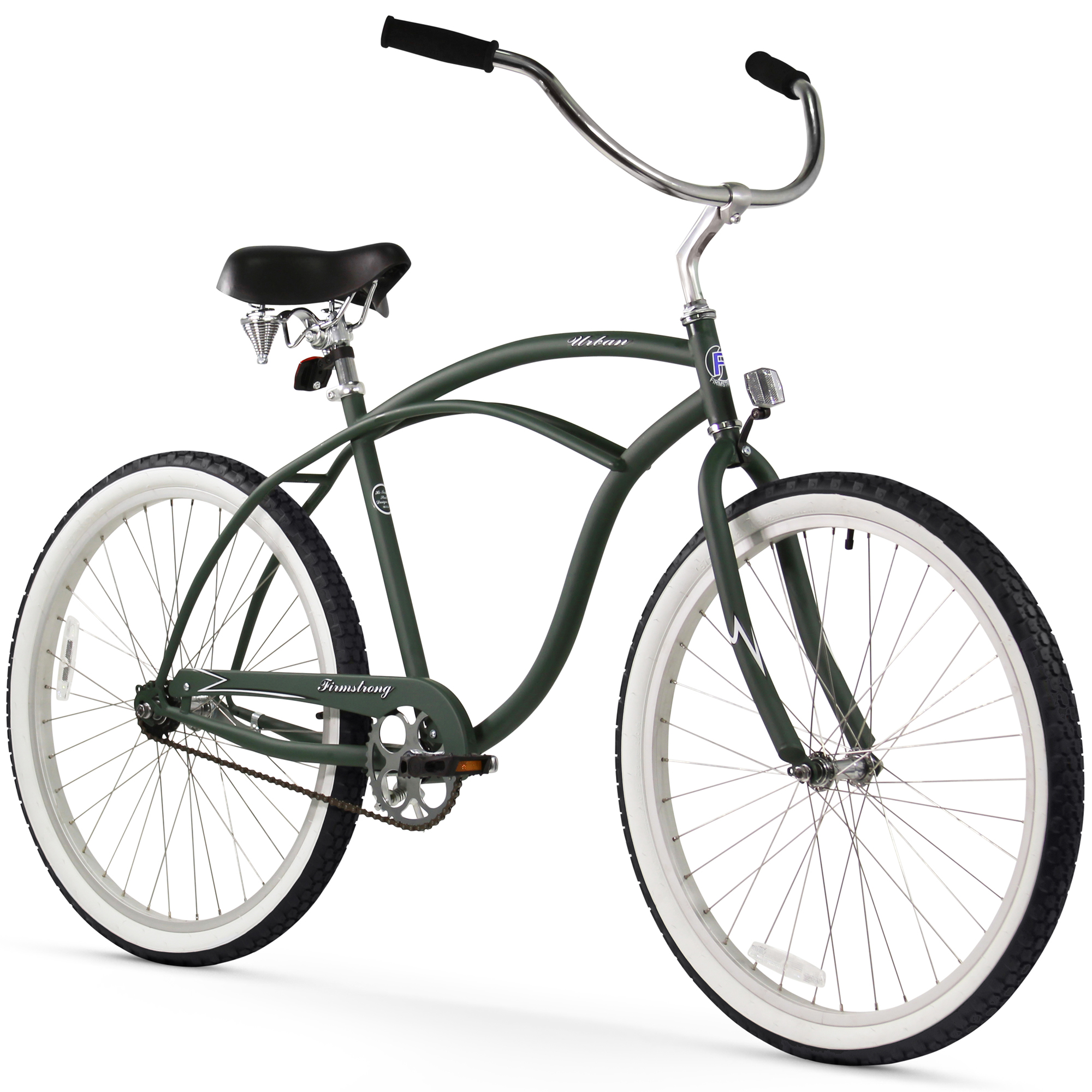 "26"" Firmstrong Urban Man Single Speed Beach Cruiser Bicycle, Matte Army Green"