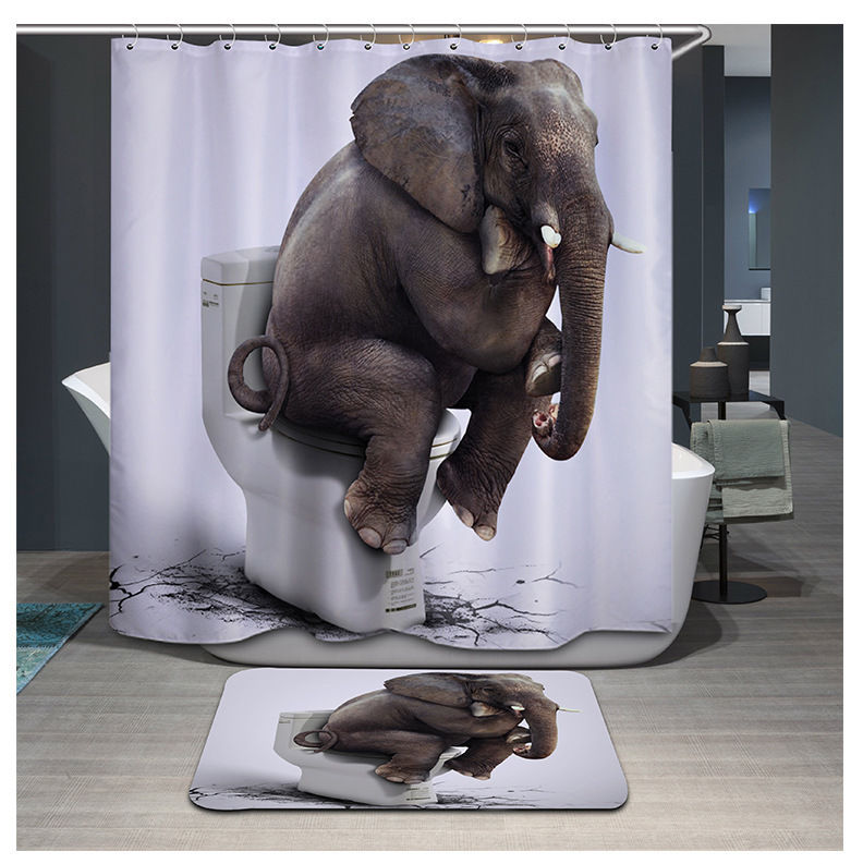 African Decor Elephant Picture Polyester Shower Curtain Bath Rugs Mat 72*72 Inch