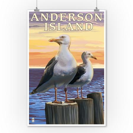 Anderson Island, Washington - Sea Gulls - Lantern Press Artwork (9x12 Art Print, Wall Decor Travel Poster)