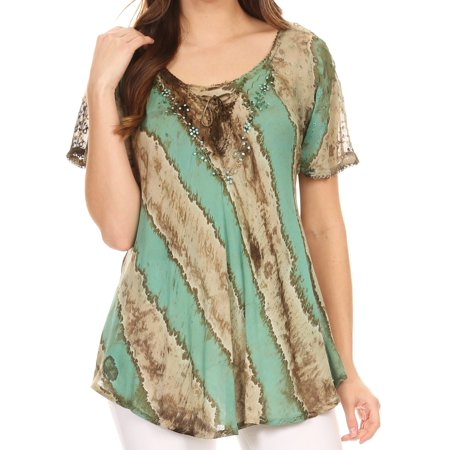 Sakkas Valencia Tie Dye Sheer Cap Sleeve Embellished Drawstring Scoop Neck Top - 4-SeaGreen - One Size (Best Stores For Plus Size Dresses)