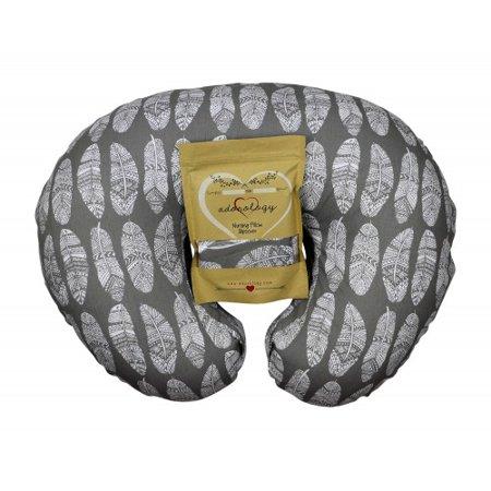 Newborn Gift Set Case - Nursing Pillow Cover Gray Feathers Design Maternity Breastfeeding Newborn Infant Feeding Cushion Slipcover Case Baby Shower Gift for New Moms