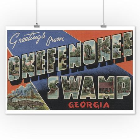 Okefenokee Swamp, Georgia - Large Letter Scenes (9x12 Art Print, Wall Decor Travel Poster) ()