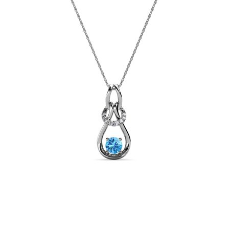14k Gold Diamond Love Knot - Diamond & Blue Topaz 0.18 Carat tw Women Love Knot Slider Pendant 14K White Gold with 18
